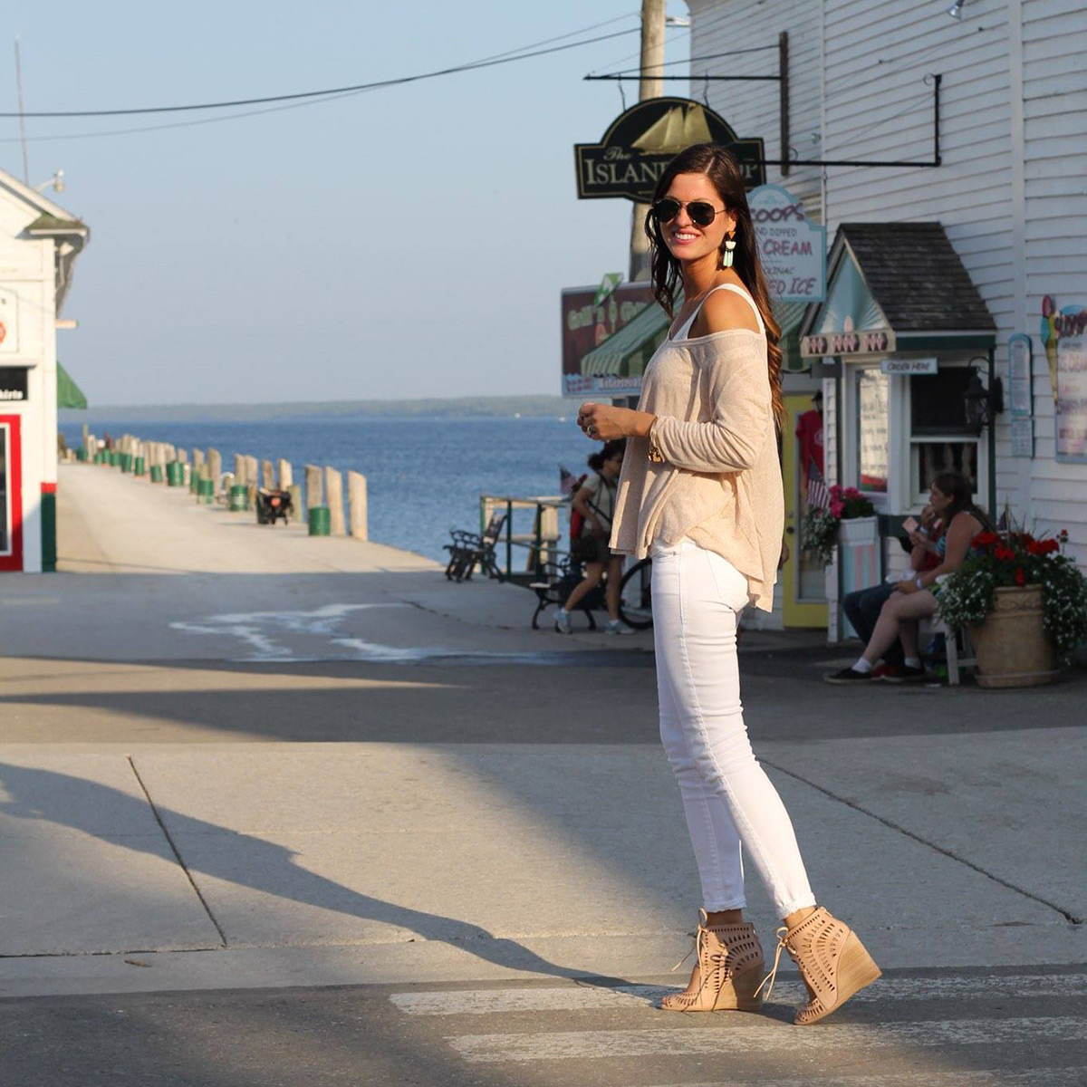 Tan Swing Top White Skinny Jeans Nude Cutout Wedges