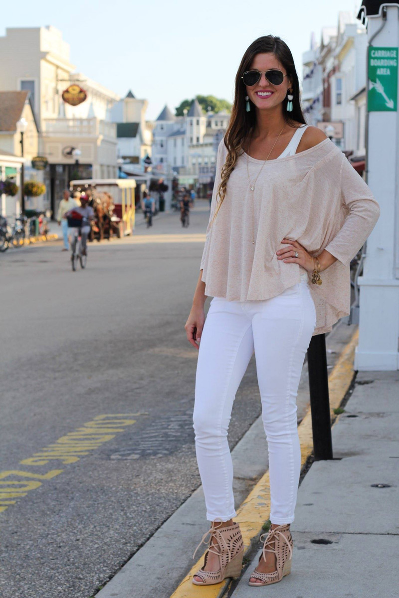 Tan Swing Top White Skinny Jeans Nude Cut-Out Wedges
