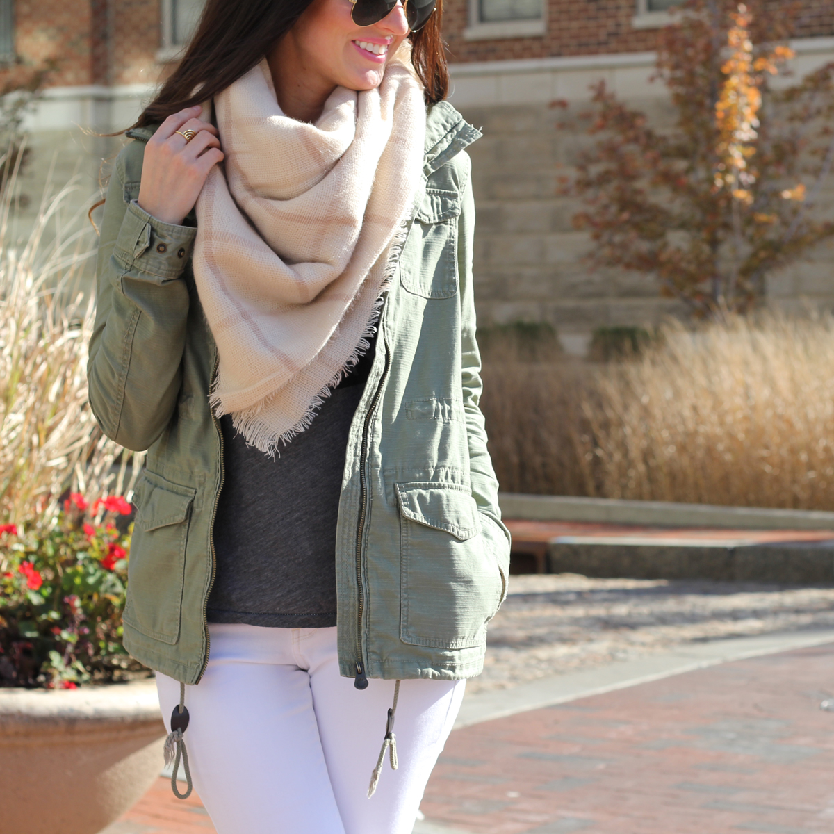 Blanket scarf and Army Green Jacket