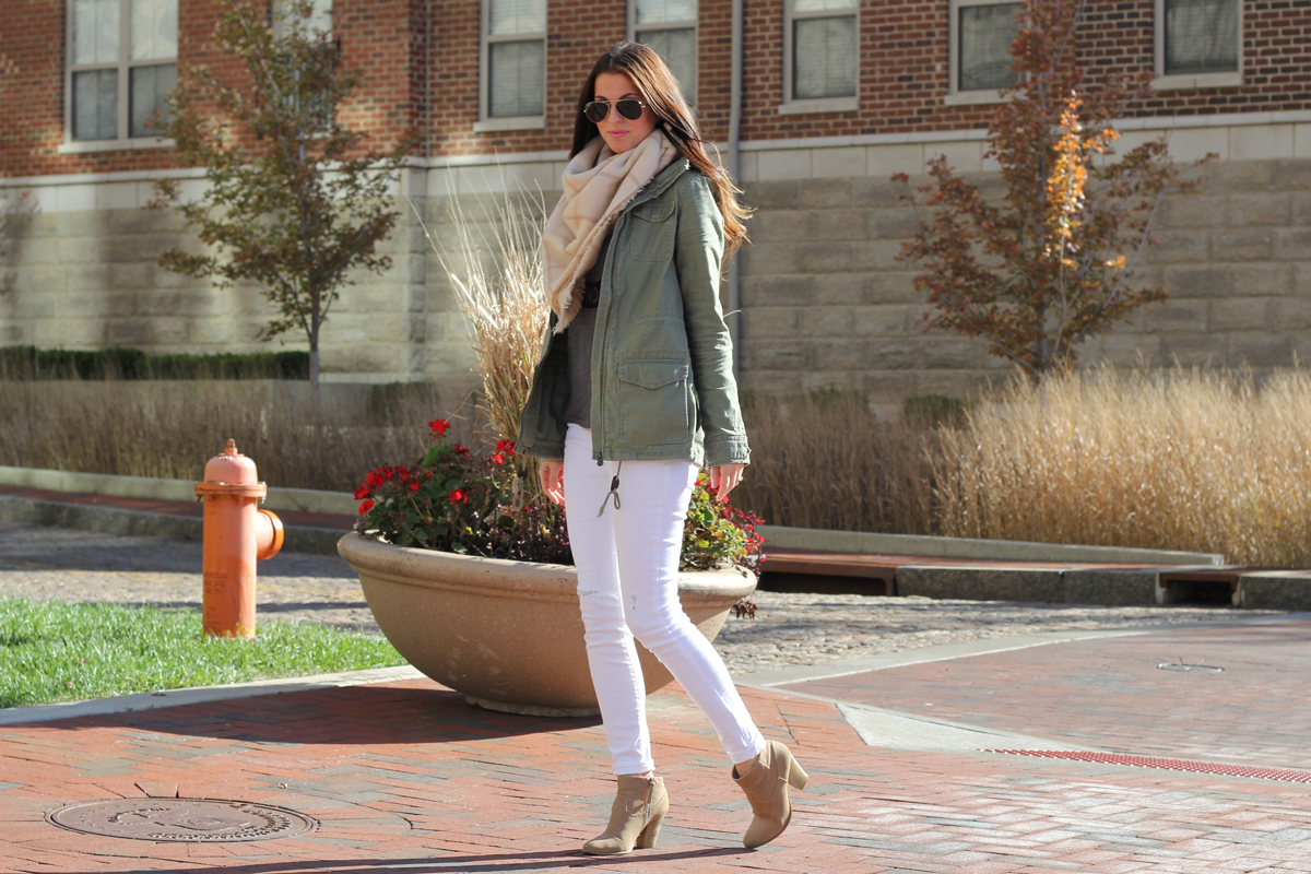 Blanket Scarf and Army Green Jacket and White Skinny Jeans