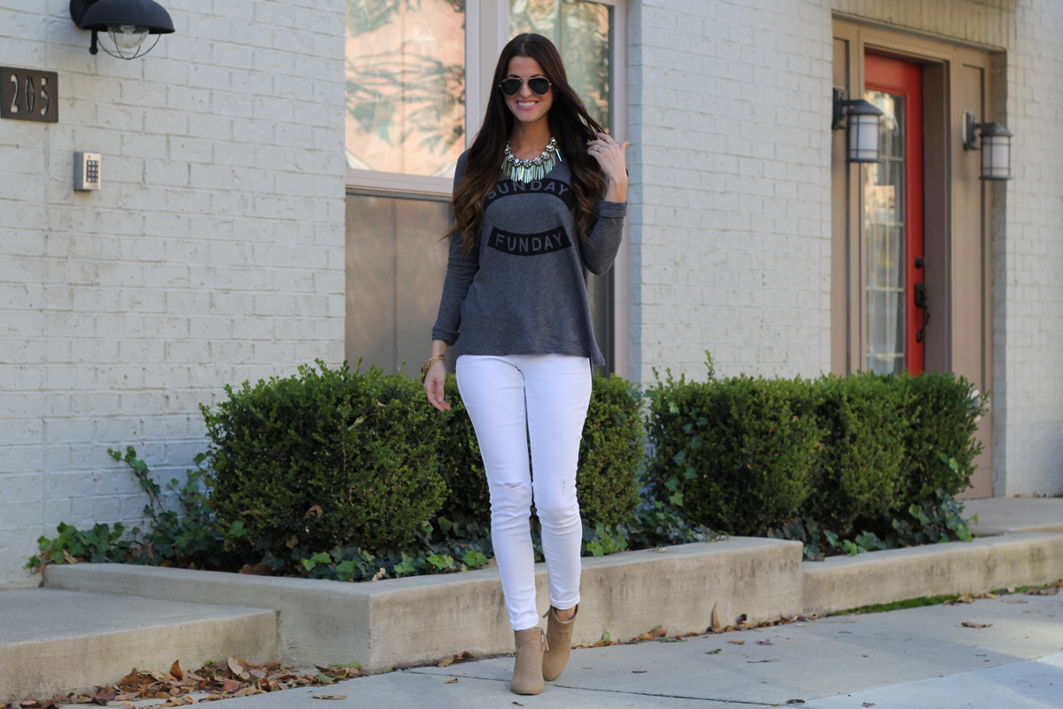 Sunday Funday Graphic Top with Statement Necklace and White Skinny Jeans