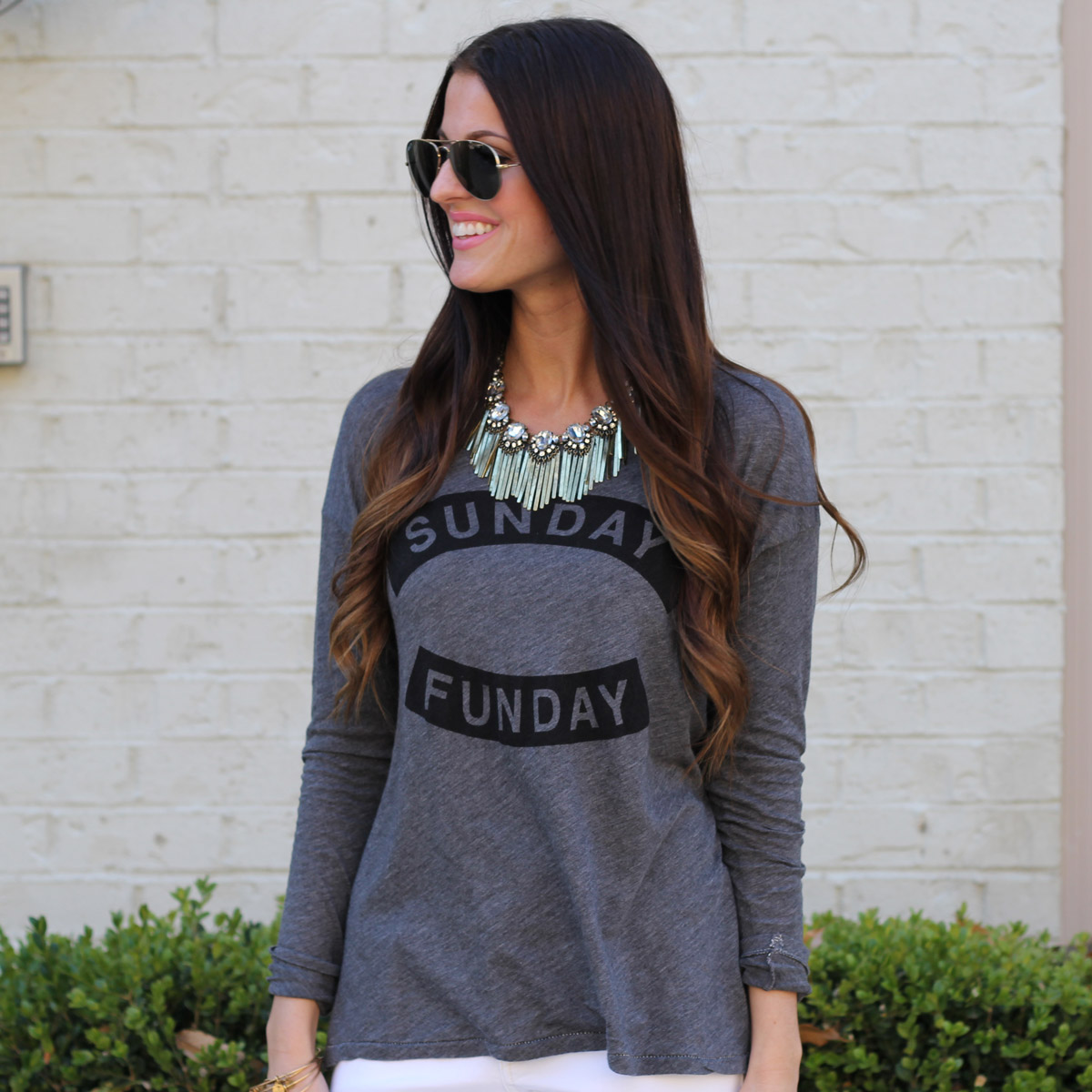 Sunday Funday Graphic Top and Statement Necklace