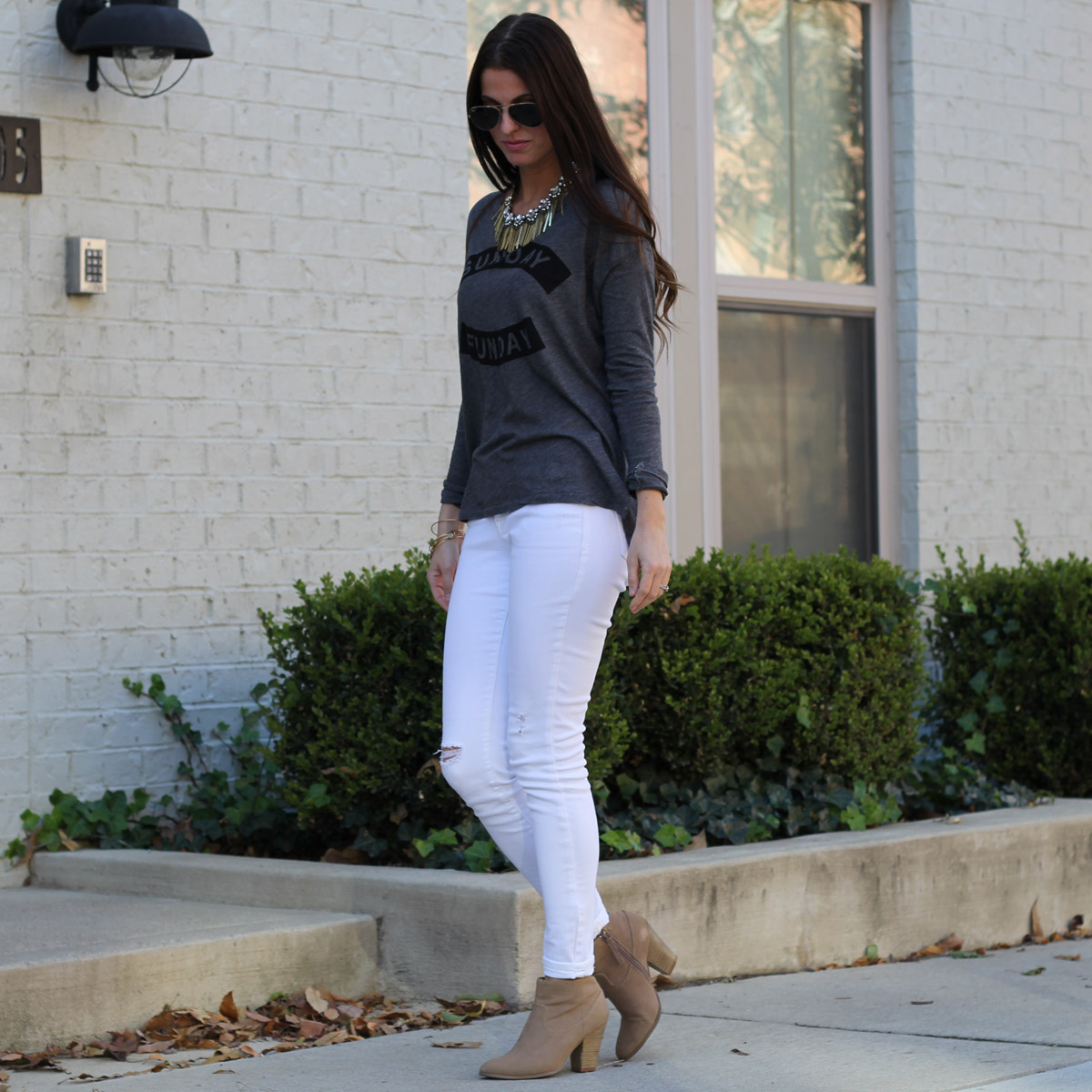 Sunday Funday Graphic Top and Statement Necklace and White Skinny Jeans