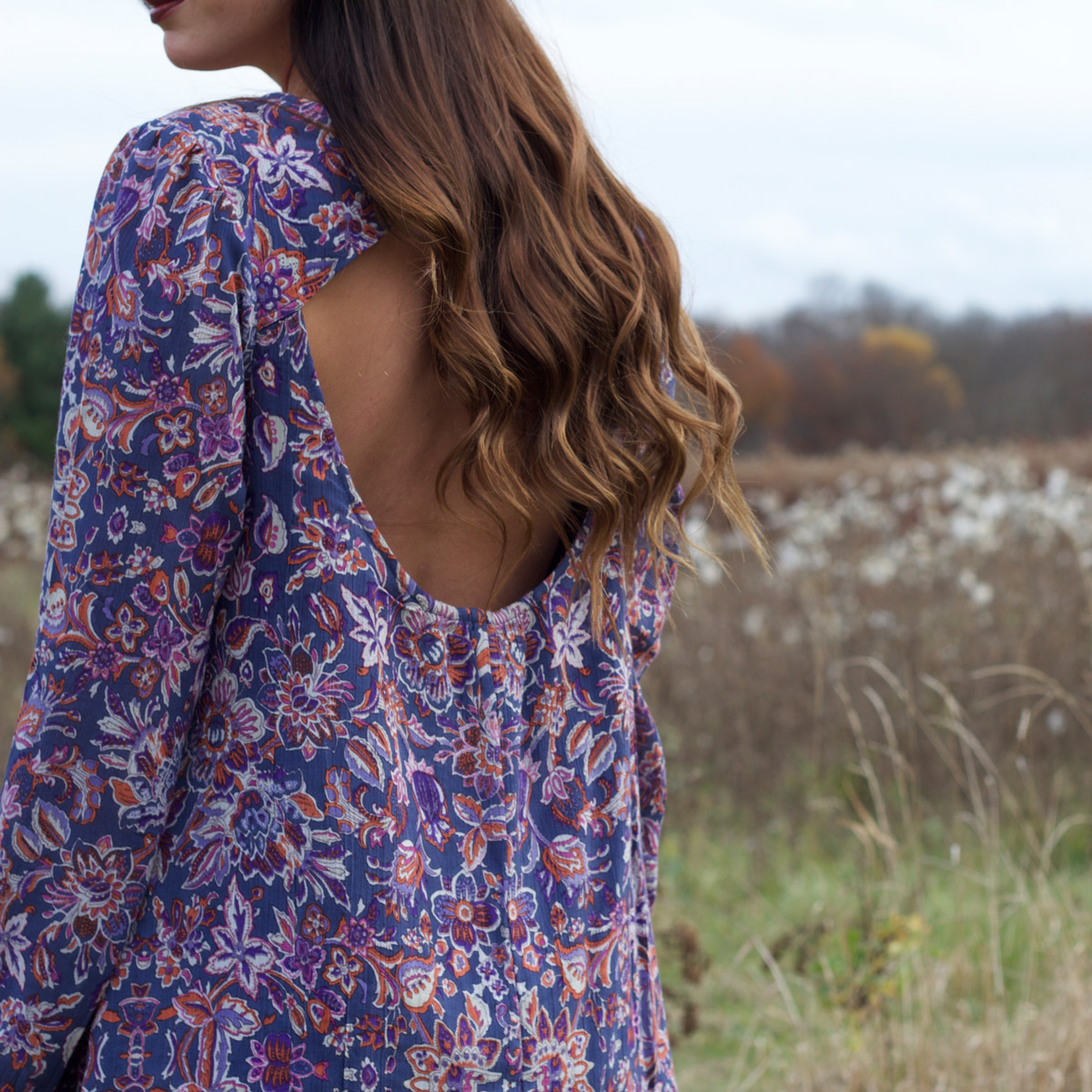 Floral Fall Dress Cut Out Back