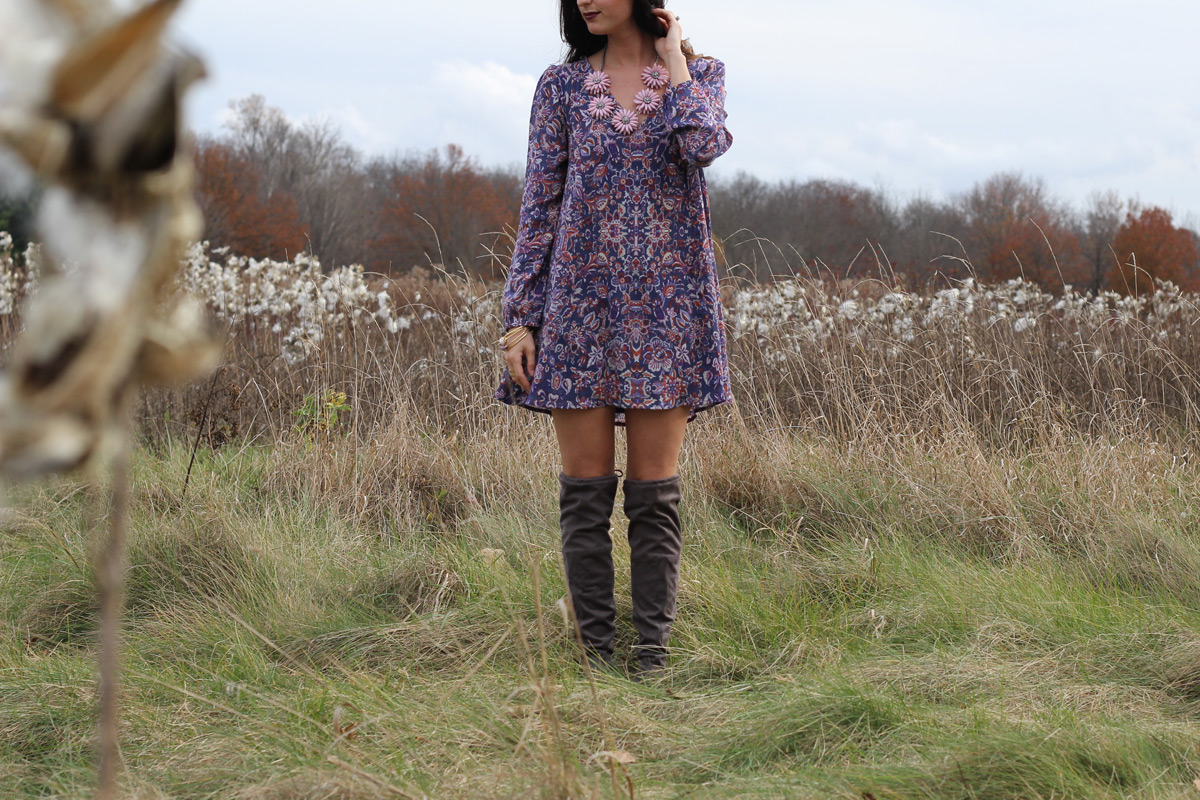 Floral Fall Dress Grey Over the Knee Boots