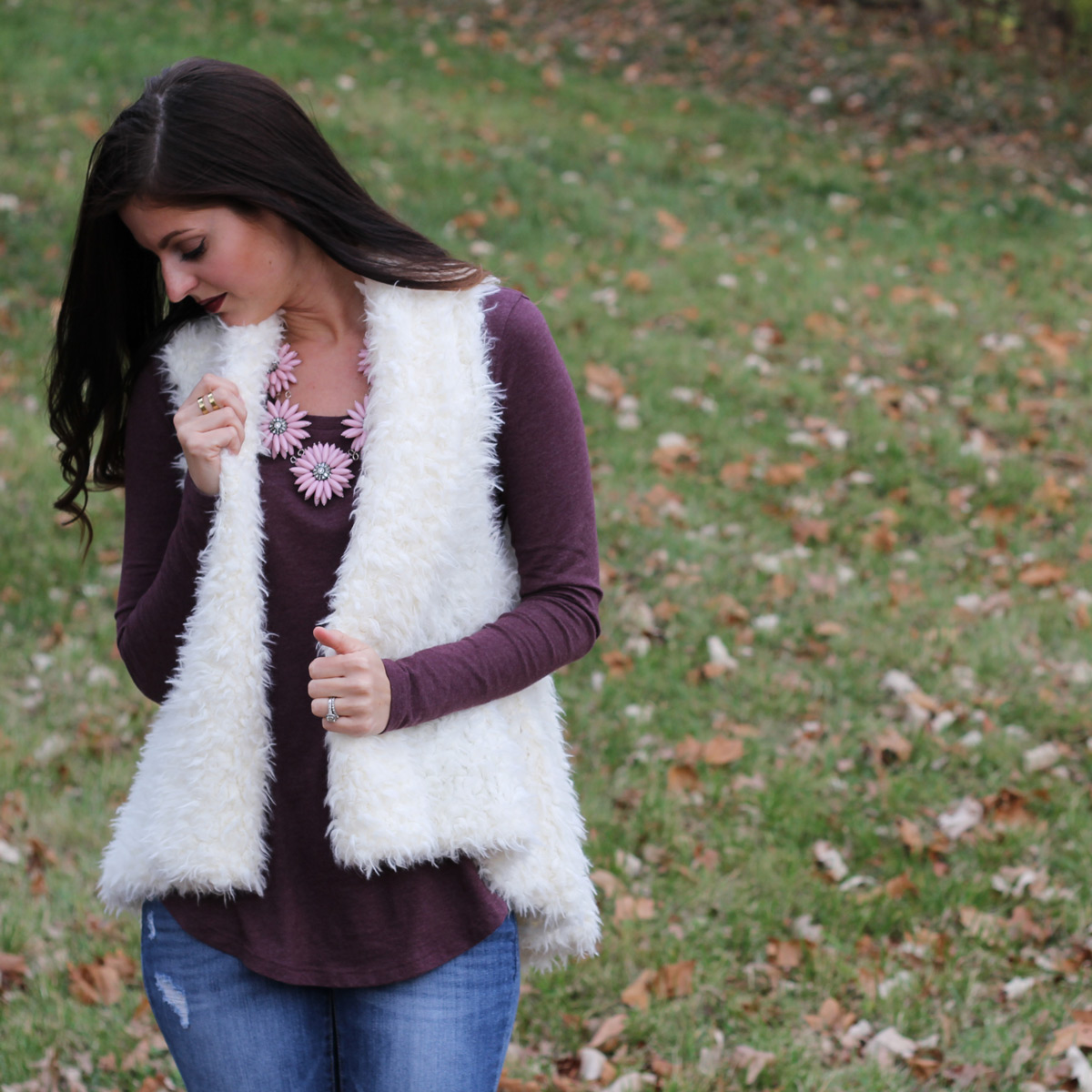 Fur Vest with Flower Necklace