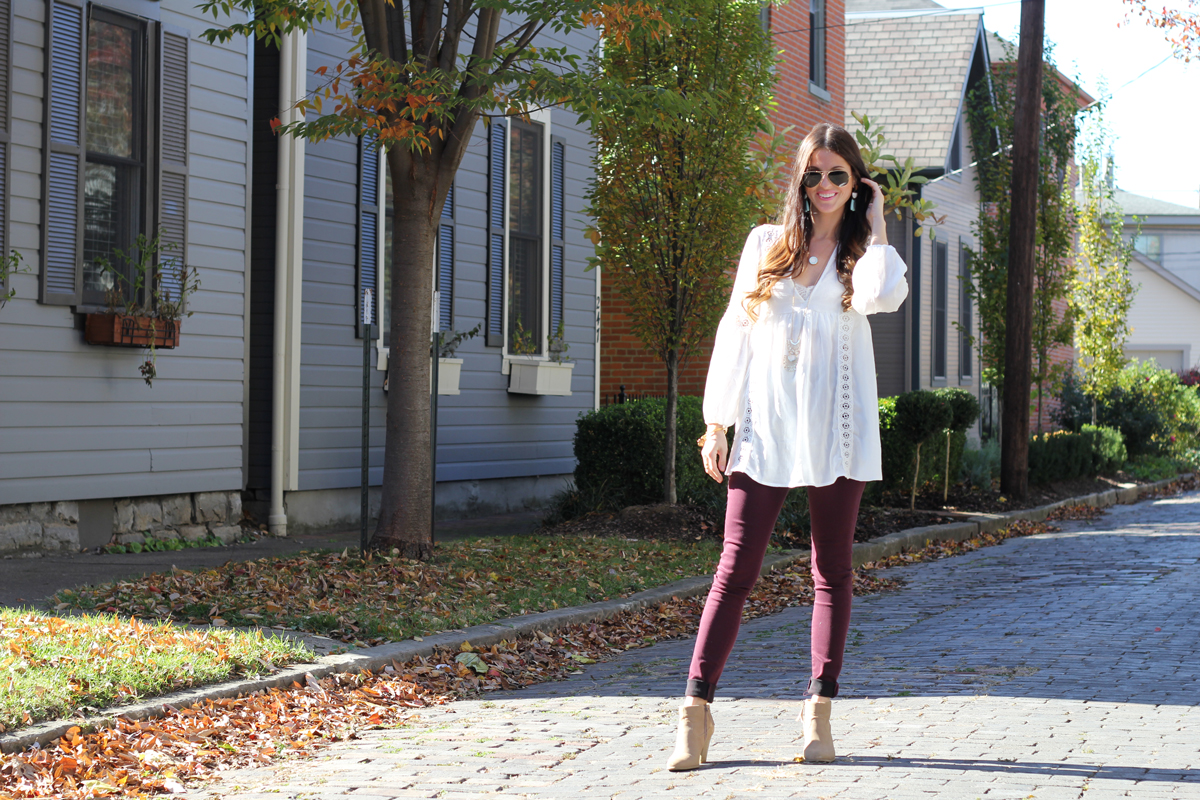 White Boho Top and Burgundy Jeans
