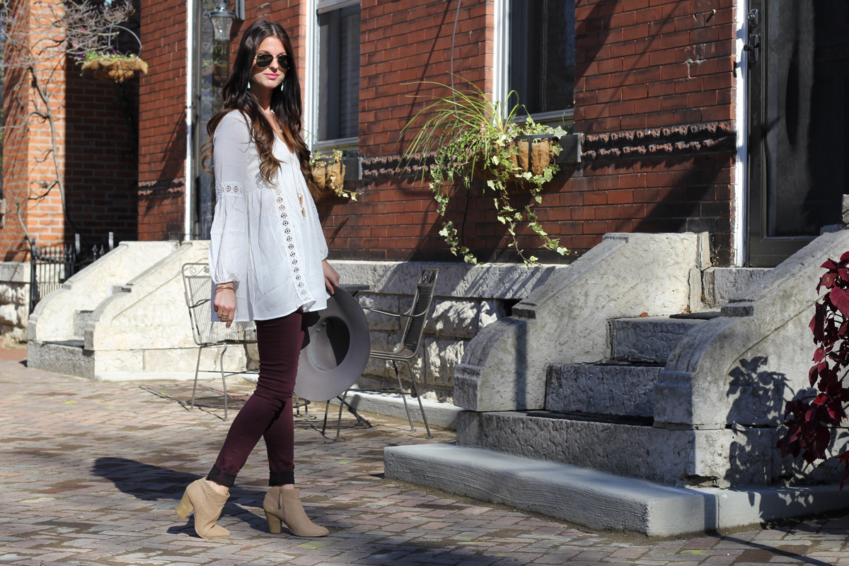 White Boho Top and Burgundy Jeans and Grey Floppy Hat