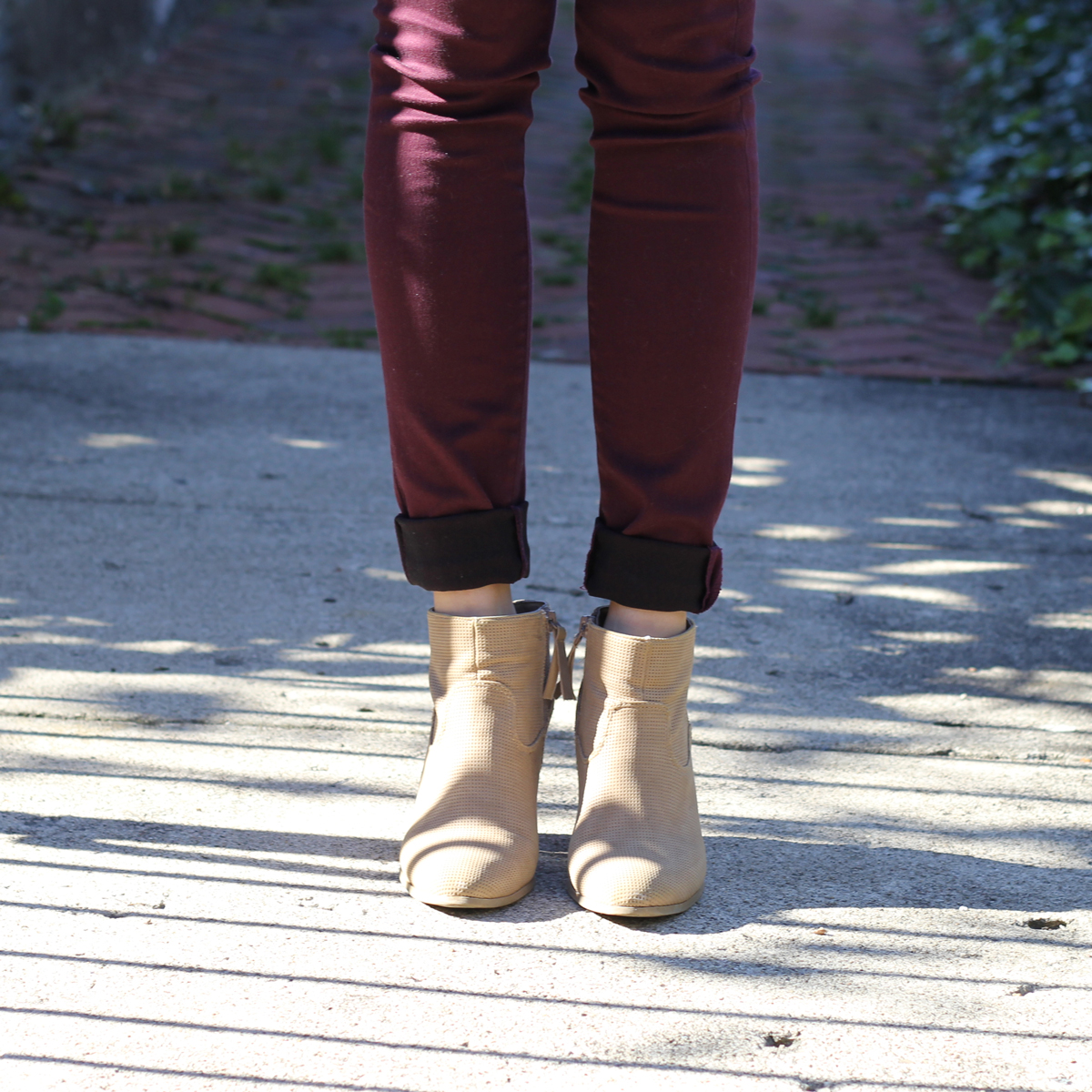 Burgundy Jeans and Tan Booties