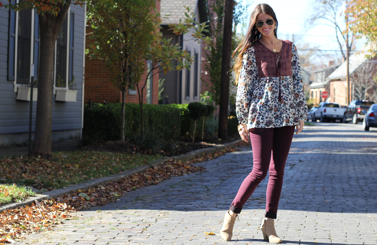 Baby Doll Swing Top and Burgundy Jeans