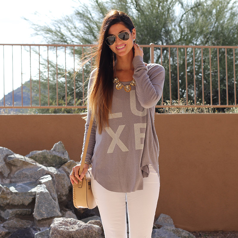 Graphic Top and White Skinny Jeans and Statement Necklace