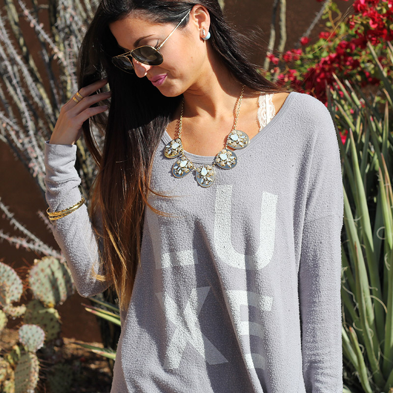 Graphic Top and Statement Necklace