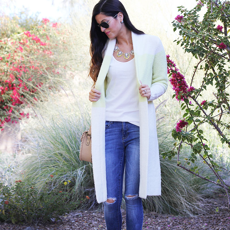 Long Cardigan and Distressed Skinny Jeans