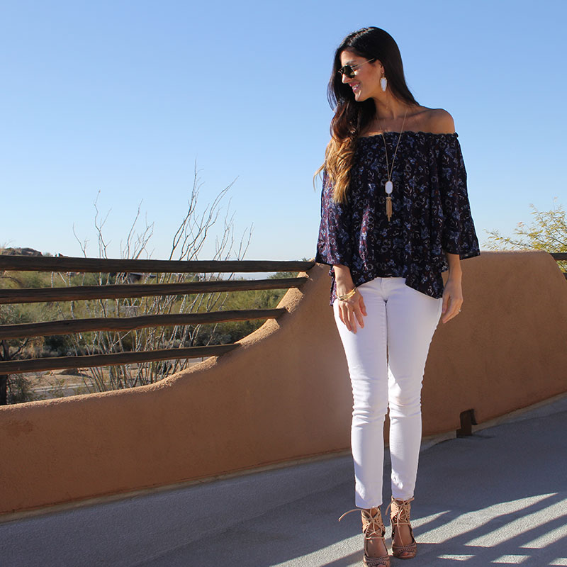 Off the Shoulder Top and White Skinny Jeans
