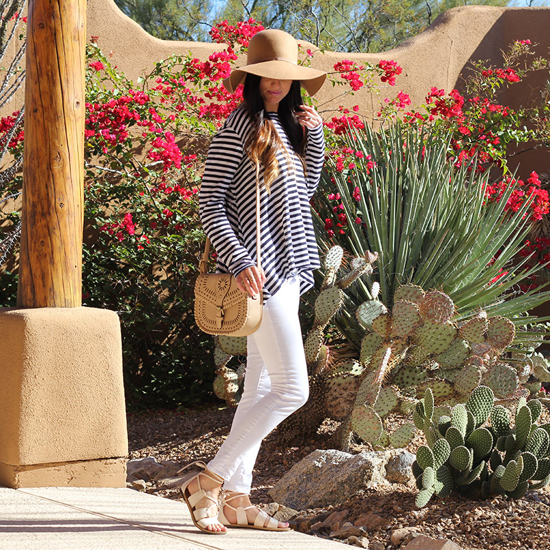 Striped Top and White Skinny Jeans and Floppy Hat