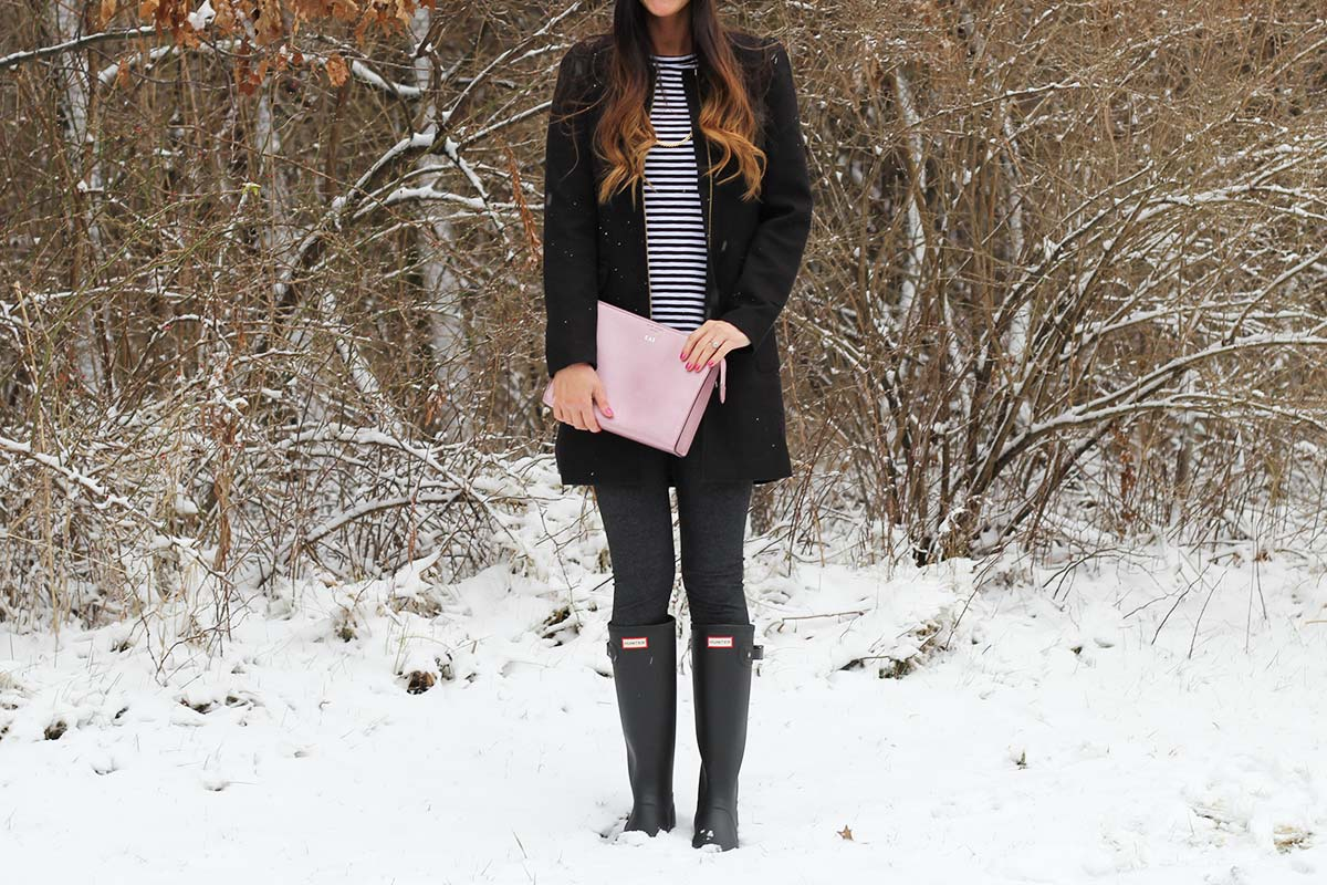 Hunter Boots and Black Coat and Clutch