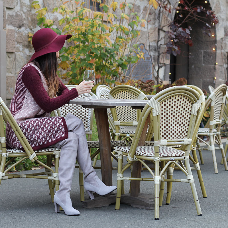 Burgundy Sweater and Floppy Hat and Over the Knee Boots