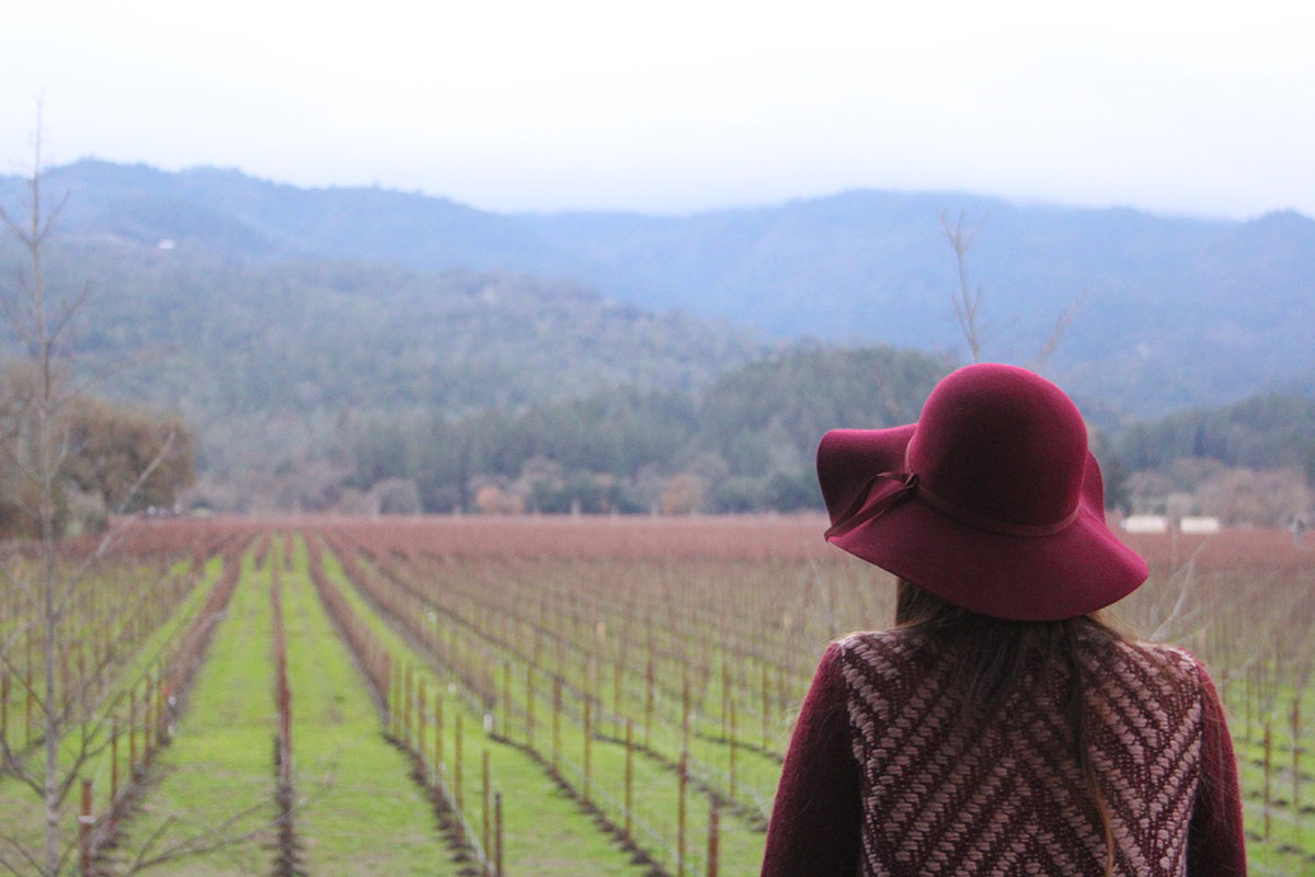 Burgundy Sweater and Floppy Hat