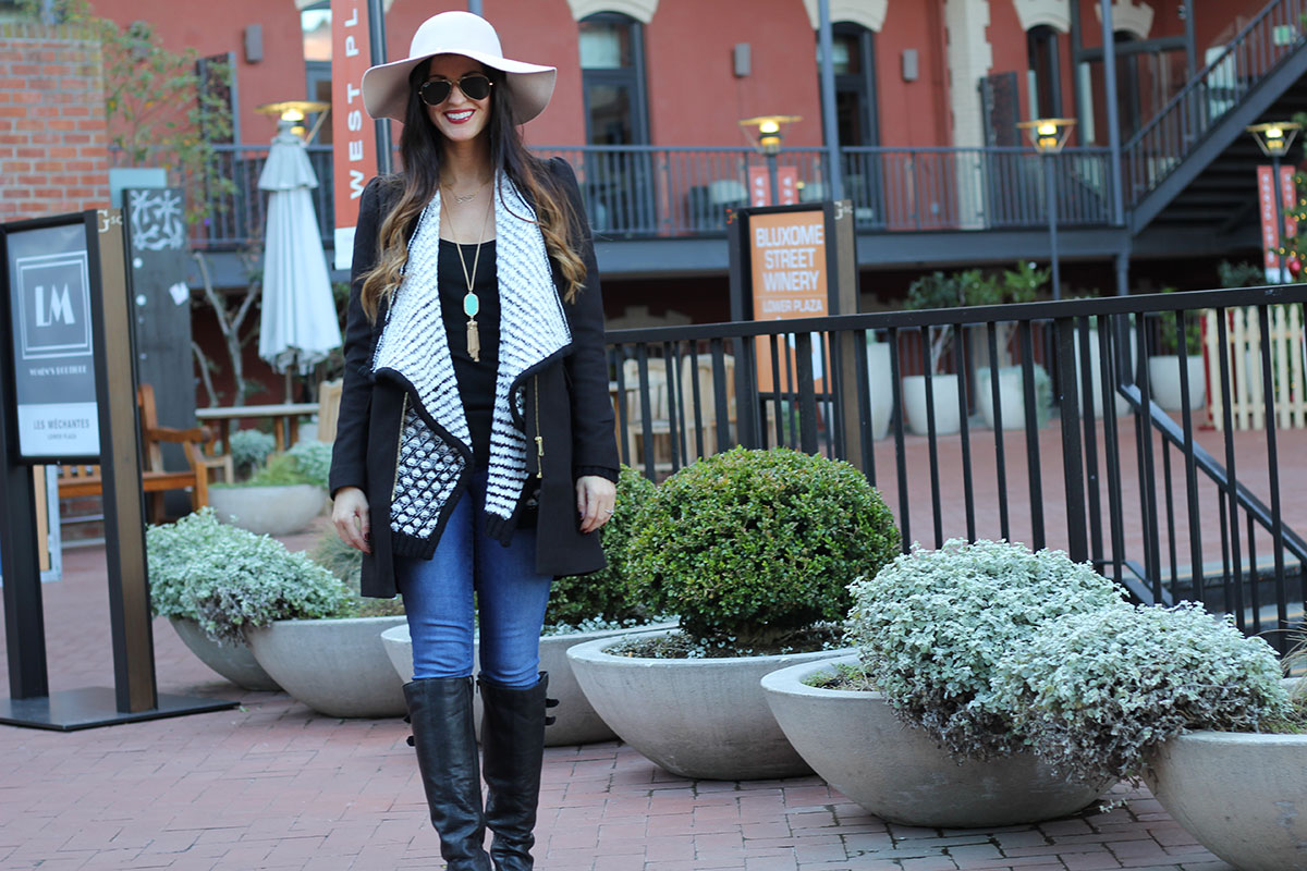 Floppy hat and Black Cardigan