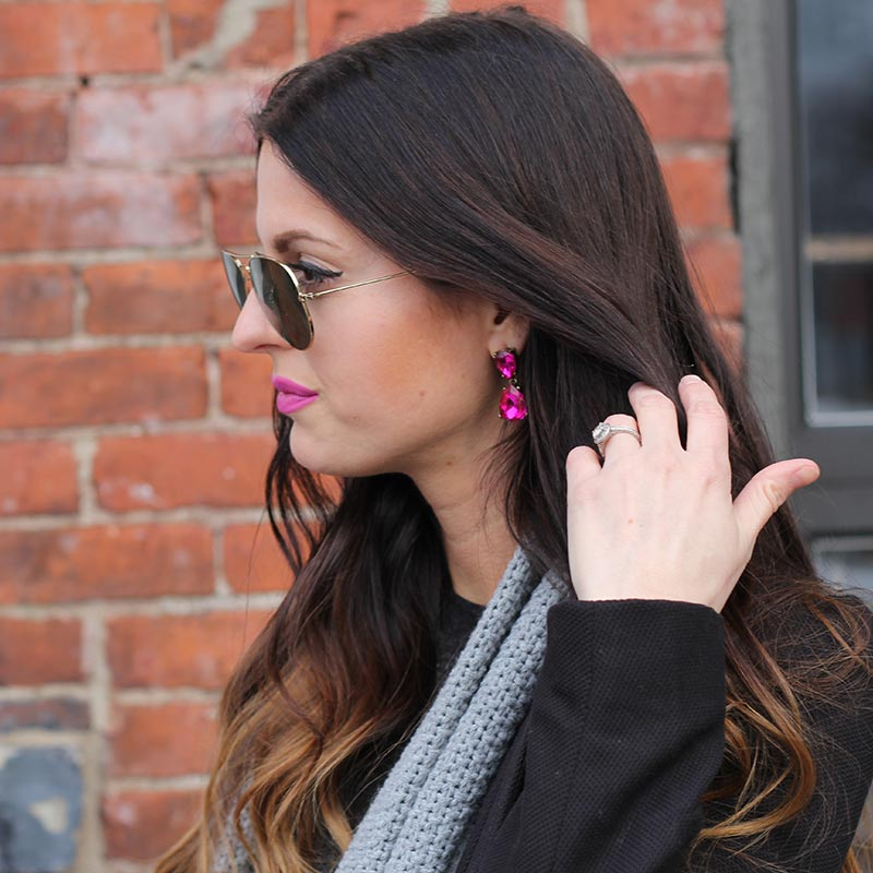 Ray Bans and Pink drop earrings