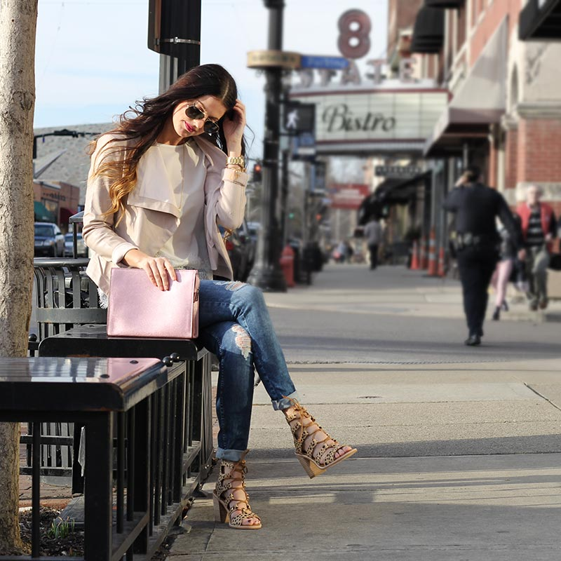 Leather jacket and lace top and leopard wedges