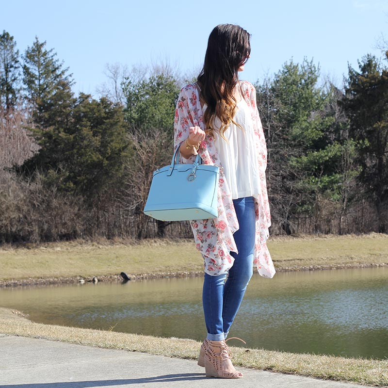 Floral Kimono and Henri Bendel purse and Lace up Wedges