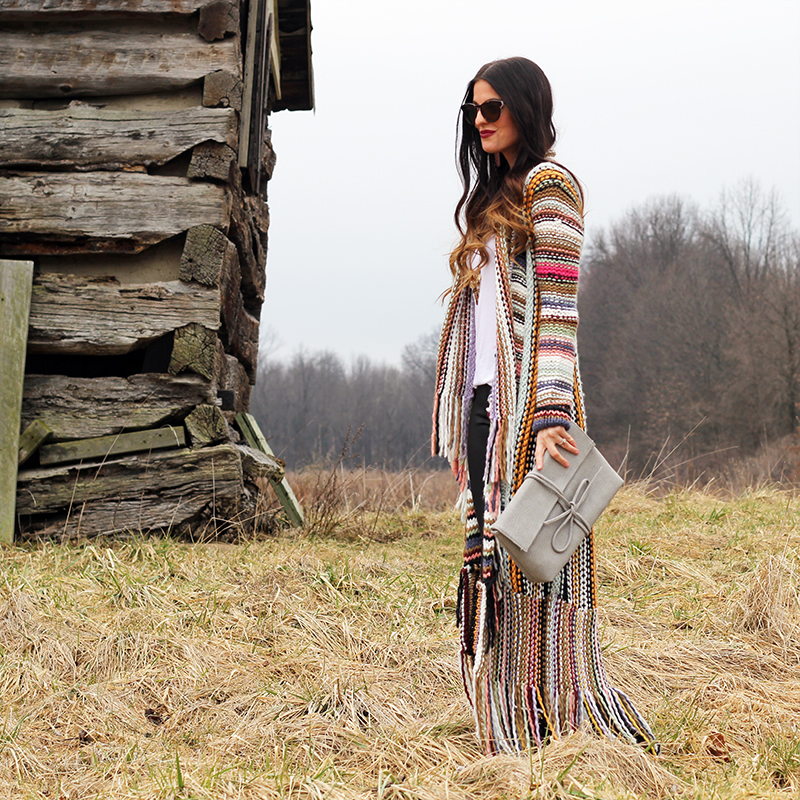 Colorful long sweater and Bow Clutch