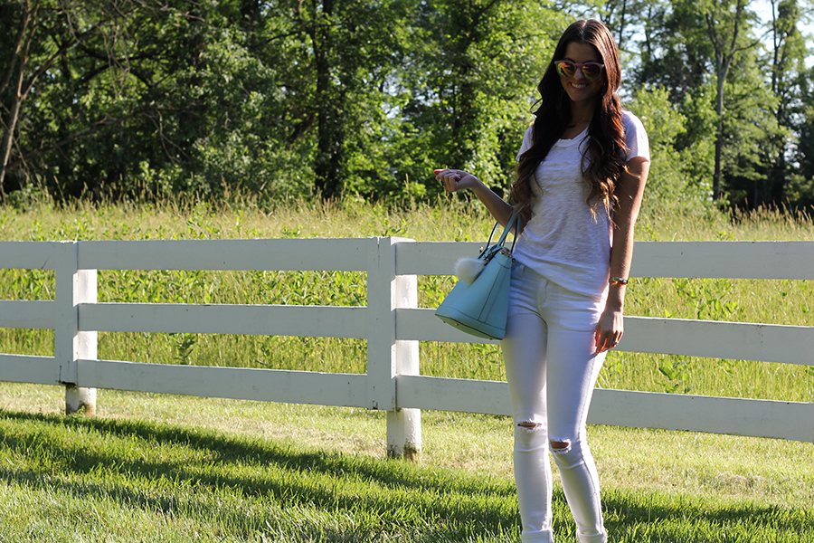 White Distressed Tee and White Distressed Jeans