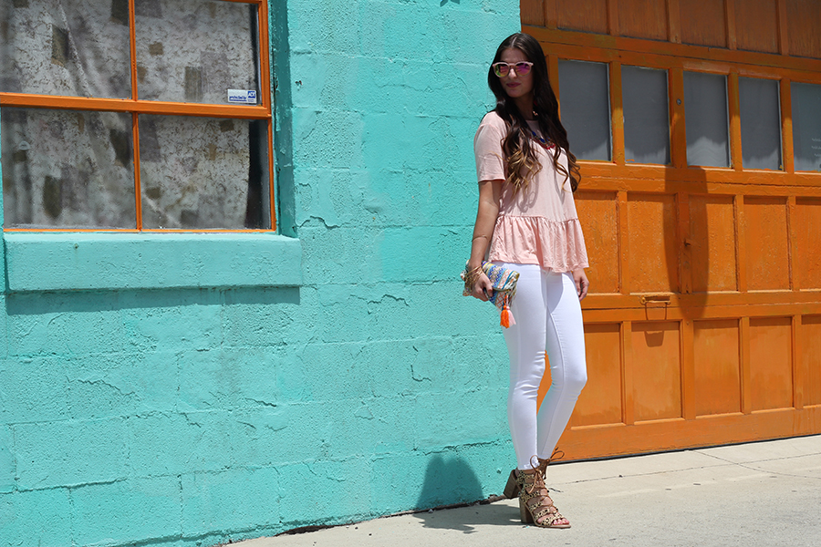 Peplum Top and White Jeans